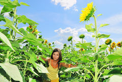 Beauty girl in a sunflowers. Beauty girl in a sunflower field Stock Photography