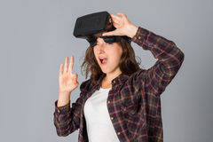 Beauty girl testing virtual reality glasses Royalty Free Stock Images
