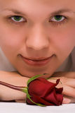 Beauty girl in towel with rose after shower Stock Images