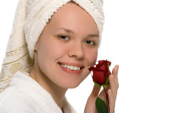 Beauty girl in towel after shower Stock Photo