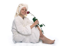 Beauty girl in towel after shower Stock Photos