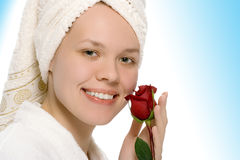 Beauty girl in towel after shower Stock Image