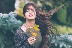 Beauty, Girl, Tree, Black Hair Stock Photography
