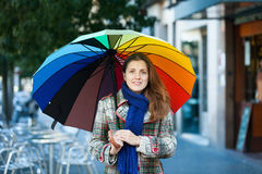 Beauty girl with umbrella  in autumn street Royalty Free Stock Photography