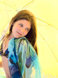 Beauty girl on umbrella background Stock Photos
