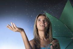 Beauty girl with umbrella Stock Image