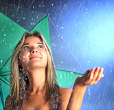 Beauty girl with umbrella Royalty Free Stock Image