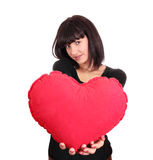 Beauty girl with valentine heart Royalty Free Stock Images