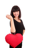 Beauty girl with valentine heart posing Royalty Free Stock Photos
