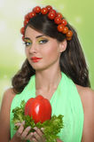 Beauty girl with Vegetables hair style. Royalty Free Stock Photography