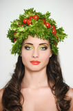 Beauty girl with Vegetables hair style. Royalty Free Stock Photos