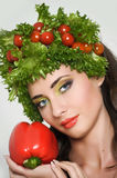 Beauty girl with Vegetables hair style. Stock Images