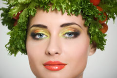Beauty girl with Vegetables hair style. Stock Photo