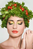 Beauty girl with Vegetables hair style. Royalty Free Stock Photo