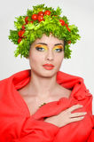Beauty girl with Vegetables hair style. royalty free stock images