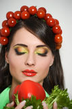 Beauty girl with Vegetables hair style. Beautiful happy young woman with vegetables on her head. Healthy food concept, diet, veget Royalty Free Stock Image