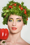 Beauty girl with Vegetables hair style. Beautiful happy young woman with vegetables on her head. Healthy food concept, diet, veget royalty free stock images