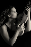 Beauty girl with violin royalty free stock image