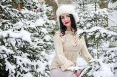 Beauty girl in warm woolen sweater under snow-covered trees Stock Images