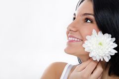 Beauty girl  with white flower Royalty Free Stock Photos
