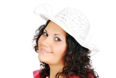 Beauty girl with white hat Royalty Free Stock Photography