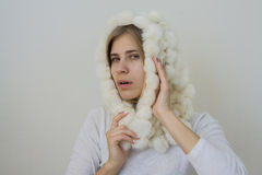 Beauty girl in white scarf Royalty Free Stock Photo