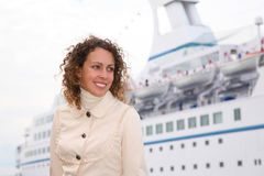 Beauty girl and white ship Stock Image