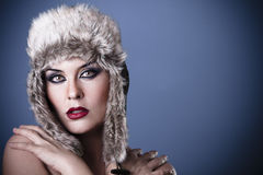 A beauty girl on the winter background Stock Images