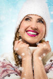 A beauty girl on the winter background Stock Photo