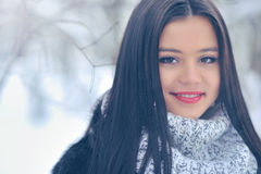 Beauty girl on the winter background Stock Photo