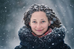 Beauty girl winter portrait with flying snowflakes. Beauty girl winter portrait with snowflakes Stock Photos