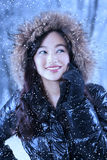 Beauty girl with winter tree background Royalty Free Stock Photos