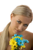 Beauty girl yellow and blue flower Royalty Free Stock Images