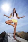 Beauty girl in yoga pose Stock Photography