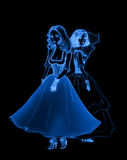 Beauty girls in dresses. Beautiful girls in dresses blue illustration Stock Photos