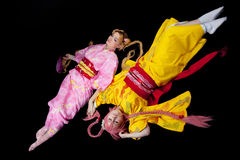 Beauty girls lay in kimono cosplay costume Royalty Free Stock Image