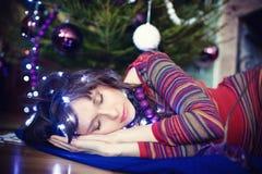 Beauty glamor Woman celebrating christmas, wearing a carnival . Stock Photography