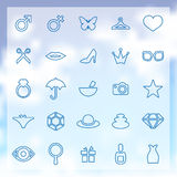 25 beauty, glamour icons set. 25 outline beauty, glamour icons set, blue on clouds background Royalty Free Stock Photo