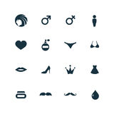 Beauty, glamour icons set Royalty Free Stock Images