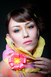 Glamour girl with colorful makeup Stock Photos