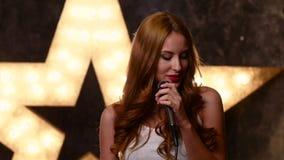 Beauty Glamour Singer Girl. Rock n roll Style stock video