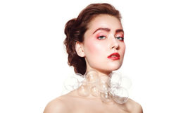 Beauty with glass necklace Royalty Free Stock Photo
