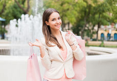 Beauty goes shopping. Royalty Free Stock Photography