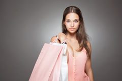 Beauty goes shopping. Royalty Free Stock Image