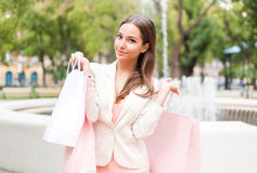 Beauty goes shopping. Stock Photography