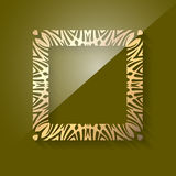 Beauty gold square frame with shadow and highlight on dark green Stock Photos