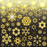 Beauty of golden snowflake vector background Stock Photography