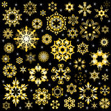 Beauty of golden snowflake vector background Royalty Free Stock Images