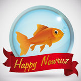Beauty Goldfish in Round Button to Celebrate the Nowruz Holiday, Vector Illustration Royalty Free Stock Photos