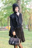 Beauty goth girl walks Stock Images